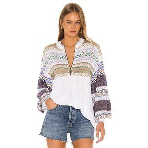 NWT Free People pattern metallic fibre sweater top